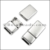 6mm flat STRAIGHT magnetic clasp ANT SILVER - per 10 clasps