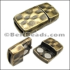 10mm flat HAMMERED magnetic clasp ANT BRASS - per 10 clasps