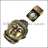 6mm flat BUDDHA magnetic clasp ANT BRASS - per 10 clasps