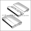 25mm flat RECTANGLE magnetic clasp ANT SILVER - per 5 clasps
