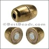 2mm round BARREL magnetic clasp ANT. BRASS - per 10 pieces