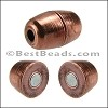 2mm round BARREL magnetic clasp ANT. COPPER - per 10 pieces