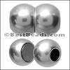 6mm round 2 PLAIN SPHERES magnetic clasp ANT SILVER - per 10 clasps