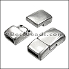 6mm flat RECTANGLE magnetic clasp ANT SILVER - per 10 clasps