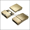 10mm flat RECTANGLE magnetic clasp ANT BRASS - per 10 clasps