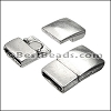 10mm flat RECTANGLE magnetic clasp ANT SILVER - per 10 clasps