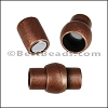 6mm round TUBE magnetic clasp ANT. COPPER- per 10 clasps