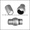 6mm round TUBE magnetic clasp ANT. SILVER- per 10 clasps