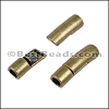 4mm round CURVED TUBE magnetic clasp ANT BRASS - per 10 pieces
