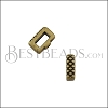 5mm flat CRIMP CROSSHATCH slider ANT BRASS - 10 pcs