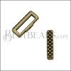 10mm flat CRIMP CROSSHATCH slider ANT BRASS - 10 pcs