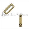 10mm flat CRIMP CROSSHATCH ENDS slider ANT BRASS - 10 pcs