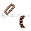 10mm flat CRIMP DOTTED CRESCENT slider ANT COPPER - 10 pcs