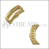 10mm flat CRIMP DOTTED CRESCENT slider SHINY GOLD - 10 pcs