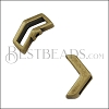 10mm flat CRIMP CHEVRON slider ANT BRASS - 10 pcs