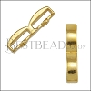 10mm flat CRIMP DOUBLE BAR slider SHINY GOLD - 10 pcs