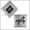 13mm flat SQUARE HORSE slider ANTIQUE SILVER - per 10 pieces