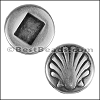 13mm flat ROUND SHELL slider ANTIQUE SILVER - per 10 pieces