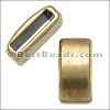 10mm flat PLAIN BAR slider ANT BRASS - per 10 pieces