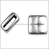 10mm flat SQUARE PILLOW slider ANT SILVER - per 10 pieces
