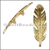 10mm flat FEATHER spacer SHINY GOLD - 10 pcs