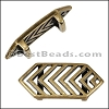 10mm Flat CHEVRON slider ANT BRASS - per 10 pieces
