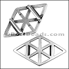 10mm Flat GEOMETRIC RHOMBUS slider ANT SILVER - per 10 pieces
