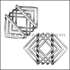 20mm Flat GEOMETRIC SQUARE slider ANT SILVER - per 10 pieces