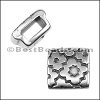 5mm Flat CROSS PATTERN SQUARE slider ANT SILVER - per 10 pieces