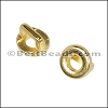 3mm flat ROUND FRAME slider SHINY GOLD - per 10 pieces