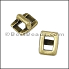 3mm flat RECTANGLE FRAME slider ANT BRASS - per 10 pieces