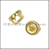 3mm flat ROUND BEZEL slider SHINY GOLD - per 10 pieces