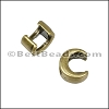 3mm flat CRESCENT MOON slider ANT BRASS - per 10 pieces