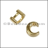 3mm flat CRESCENT MOON slider SHINY GOLD - per 10 pieces