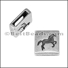 10mm flat HORSE SQUARE slider ANT SILVER - per 10 pieces