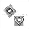 10mm flat SQUARE HEART slider ANT SILVER - per 10 pieces