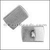 10mm flat RECTANGLE TOP LOOP slider ANT SILVER - per 10 pieces