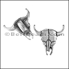 5mm flat BULL SKULL slider ANT SILVER - per 10 pieces