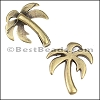 10mm flat PALM TREE slider ANT BRASS - per 10 pieces