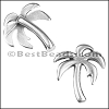 10mm flat PALM TREE slider ANT SILVER - per 10 pieces