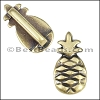 10mm flat PINEAPPLE slider ANT BRASS - per 10 pieces