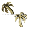 5mm flat PALM TREE slider ANT BRASS - per 10 pieces