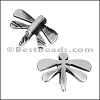 5mm flat DAINTY DRAGONFLY slider ANT SILVER - per 10 piece