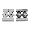 30mm flat DOUBLE ORNATE LANTERN slider ANT SILVER - per 10 piece