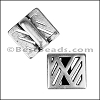 10mm flat GEOMETRIC CUT OUT slider ANTIQUE SILVER - per 10 pieces
