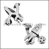 10mm flat SPACESHIP slider ANTIQUE SILVER - per 10 pieces