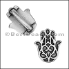 10mm flat HAMSA HAND slider ANTIQUE SILVER - per 10 pieces