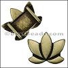10mm flat LOTUS FLOWER slider ANTIQUE BRASS - per 10 pieces