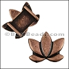 10mm flat LOTUS FLOWER slider ANTIQUE COPPER - per 10 pieces