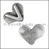 10mm flat BROKEN HEART slider ANTIQUE SILVER - per 10 pieces